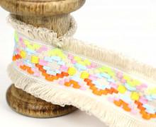 1 Meter Fransenband - Schlaufen - Ibiza - 4,5cm - Ethno-Style - Sand