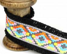 1 Meter Fransenband - Schlaufen - Ibiza - 4,5cm - Ethno-Style - Schwarz