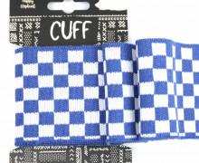 Jacquard Bündchen - Karo - Schachbrett - 7cm - Cuff - Happy Elephant - Jeansblau/Weiß