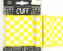 Jacquard Bündchen - Karo - Schachbrett - 7cm - Cuff - Happy Elephant - Gelb/Weiß