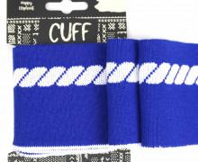 Jacquard Bündchen - Tau - Seil - 7cm - Cuff - Happy Elephant - Royalblau/Weiß