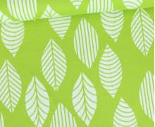 Jacquard Jersey - Geoleaves - Blätter - Grün/Weiß
