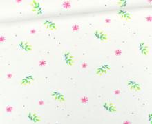 Jersey - Bio Qualität - Kombistoff - Papageienmädchen - Blüten - Weiß - Wildblume - abby and me