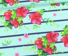 Jersey - Bio Qualität - Kombistoff - Papageienmädchen -  Große Blüten - Streifen - Mint/Dunkelblau- Wildblume - abby and me