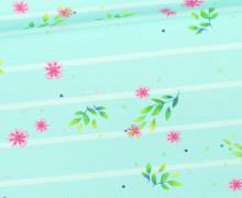 Jersey - Bio Qualität - Kombistoff - Papageienmädchen - kleine Blüten - Streifen - Mint/Warmweiß - Wildblume - abby and me