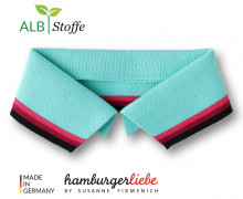 Bio-Polokragen - Stripe - M -  College - Polo Me - Multi - Hamburger Liebe - Mint