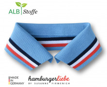 Bio-Polokragen - Stripe - M - College - Polo Me - Multi - Hamburger Liebe - Hellblau