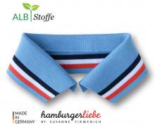 Bio-Polokragen - Stripe - L - College - Polo Me - Multi - Hamburger Liebe - Hellblau
