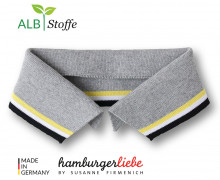 Bio-Polokragen - Stripe - L - College - Polo Me - Multi - Hamburger Liebe - Hellgrau