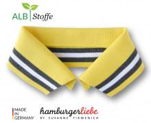 Bio-Polokragen - Stripe - M - College - Polo Me - Multi - Hamburger Liebe - Gelb