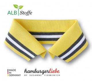 Bio-Polokragen - Stripe - XL- College - Polo Me - Multi - Hamburger Liebe - Gelb