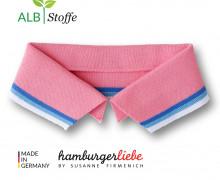 Bio-Polokragen - Stripe - S - College - Polo Me - Multi - Hamburger Liebe - Rosa