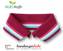 Bio-Polokragen - Stripe - S - College - Polo Me - Multi - Hamburger Liebe - Dunkelrot