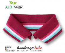 Bio-Polokragen - Stripe - L - College - Polo Me - Multi - Hamburger Liebe - Dunkelrot