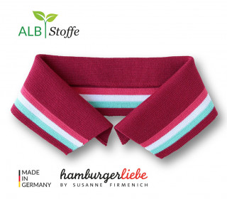 Bio-Polokragen - Stripe - XL - College - Polo Me - Multi - Hamburger Liebe - Dunkelrot