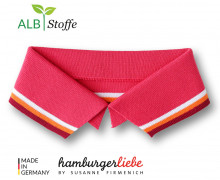 Bio-Polokragen - Stripe - S - College - Polo Me - Multi - Hamburger Liebe - Lachsrot