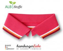 Bio-Polokragen - Stripe - L- College - Polo Me - Multi - Hamburger Liebe - Lachsrot
