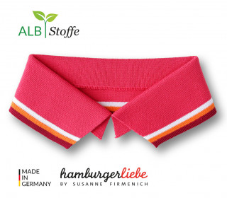 Bio-Polokragen - Stripe - XL - College - Polo Me - Multi - Hamburger Liebe - Lachsrot