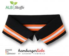 Bio-Polokragen - Stripe - S - College - Polo Me - Multi - Hamburger Liebe - Schwarz