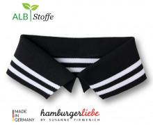 Bio-Polokragen - Stripe - M - College - Polo Me - Weiß - Hamburger Liebe - Schwarz