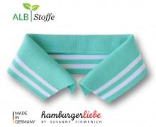 Bio-Polokragen - Stripe - S - College - Polo Me - Weiß - Hamburger Liebe - Mint
