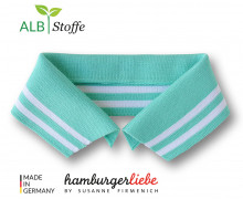 Bio-Polokragen - Stripe - XL - College - Polo Me - Weiß - Hamburger Liebe - Mint
