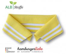 Bio-Polokragen - Stripe - L - College - Polo Me - Weiß - Hamburger Liebe - Gelb