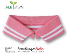 Bio-Polokragen - Stripe - L - College - Polo Me - Weiß - Hamburger Liebe - Rosa