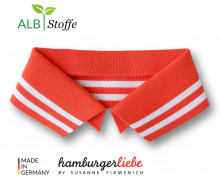 Bio-Polokragen - Stripe - S - College - Polo Me - Weiß - Hamburger Liebe - Orange