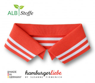 Bio-Polokragen – Stripe – L – College – Polo Me – Weiß – Hamburger Liebe – Orange