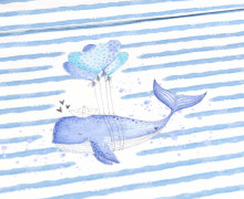 Jersey - Bio Qualität - Paneel -  Herzenswal - gestreift - Treeebird - Weiß - abby and me