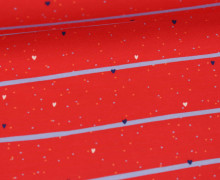 Jersey - Love Yourself - Kombistoff - Streifen - Herzen - Rot