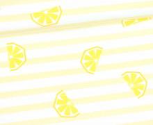 Jersey - Bio Qualität - Zitronen - gestreift - Summerfruits - Hellgelb - abby and me