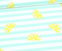 Jersey - Bio Qualität - Zitronen - gestreift - Summerfruits - Mintgrün - abby and me