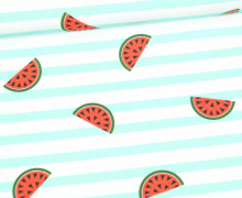 Jersey - Bio Qualität - Melonen - gestreift - Summerfruits - Mintgrün - abby and me