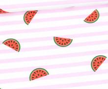 Jersey - Bio Qualität - Melonen - gestreift - Summerfruits - Hellrosa - abby and me
