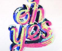 1 Aufnäher - XXL Patch - Fancy Friends - Pailletten - Oh Yes - Blau/Rosa