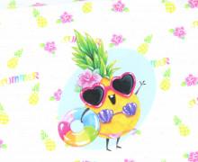 Jersey - Bio Qualität - Paneel - Crazy Ananas - Weiß - Wildblume - abby and me