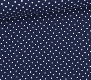 Jersey - Punkte - Klein - Dunkelblau/Weiß