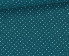 Jersey - Punkte - Klein - Petrol/Hellblau