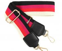 Taschengurt mit Karabinern - Kunstleder - Verstellbar - Hochwertig - 50mm - Streifen - Schwarz/Pink/Rot/Cremebeige