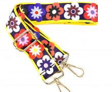Taschengurt mit Karabinern - Verstellbar - Hochwertig - 40mm - Blumen - Dunkelblau/Gelb