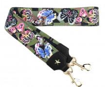 Taschengurt mit Karabinern - Kunstleder - nicht Verstellbar - Hochwertig - 50mm - Camouflage - Schmetterlinge - Olivgrün/Braun