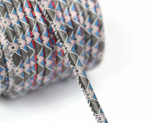 1m Kunstlederkordel - Motivkordel - Muster grafisch - Mehrfarbig - 8mm - Schwarz / Rot