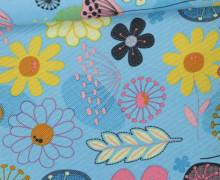 Outdoorstoff - Taschenstoff - Wasserdicht - Summer Flowers - Hellblau