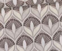 Beschichtete Baumwolle - Blumenornamente - Beige/Warmweiß