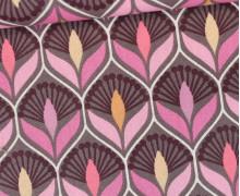 Beschichtete Baumwolle - Blumenornamente - Grau/Pink
