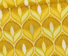 Beschichtete Baumwolle - Blumenornamente - Gelb/Senfgelb