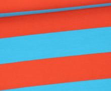 Jersey - Breite Streifen - Cyanblau/Orangerot