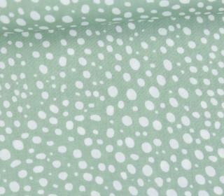 Leichter Baumwollstoff - Punktemeer - Punkte - Lichtgrün/Weiß